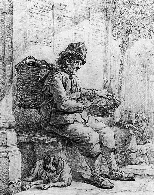 Sitting man with basket