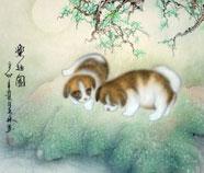 Chinese Hond Schilderkunst