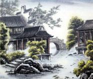 Chinese Gebouwen Schilderkunst