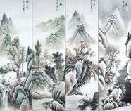 Chinese Vier Schermen Landschap Schilderkunst