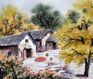 Chinese Dorp Platteland Schilderkunst