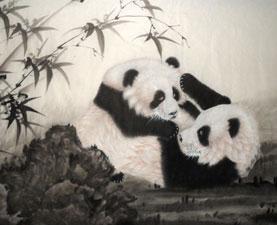 Dieren olieverf schilderijen met Chinese stijl