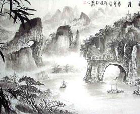 Prachtige Chinese landschap schilderijen